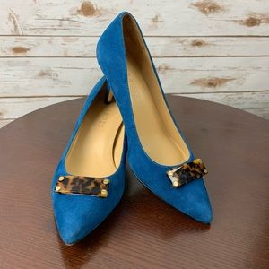 Talbots turquoise blue 7W heels shoes pointed toe